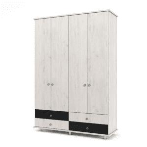 ארון 4 דלתות עם 6 חללי אחסון נפרדים + תא תלייה לקולבים ו- 4 מגירות – דגם ניסן