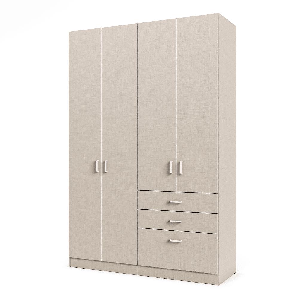 ארון 4 דלתות עם 6 חללי אחסון נפרדים + תא תלייה לקולבים ו- 3 מגירות – דגם אגם