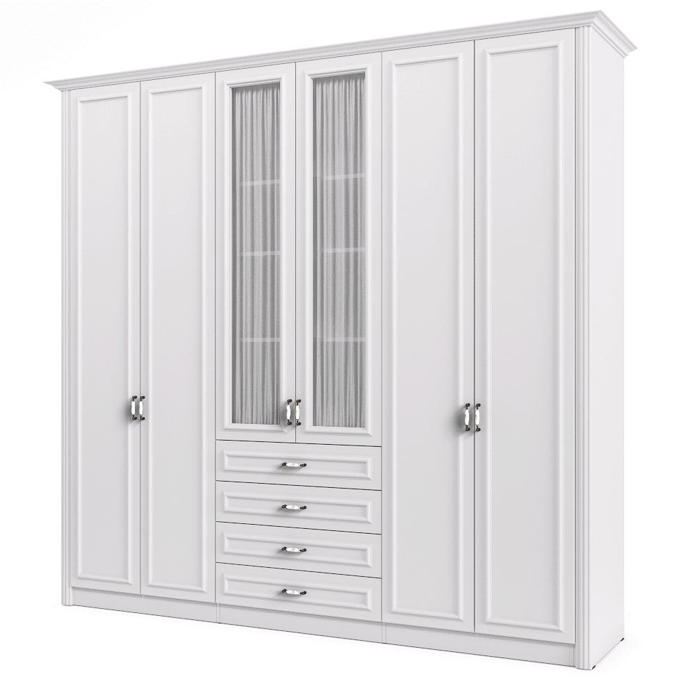 ארון 6 דלתות הכולל 12 חללי אחסון נפרדים ו- 4 מגירות + תא לתליית קולבים – דגם אושר
