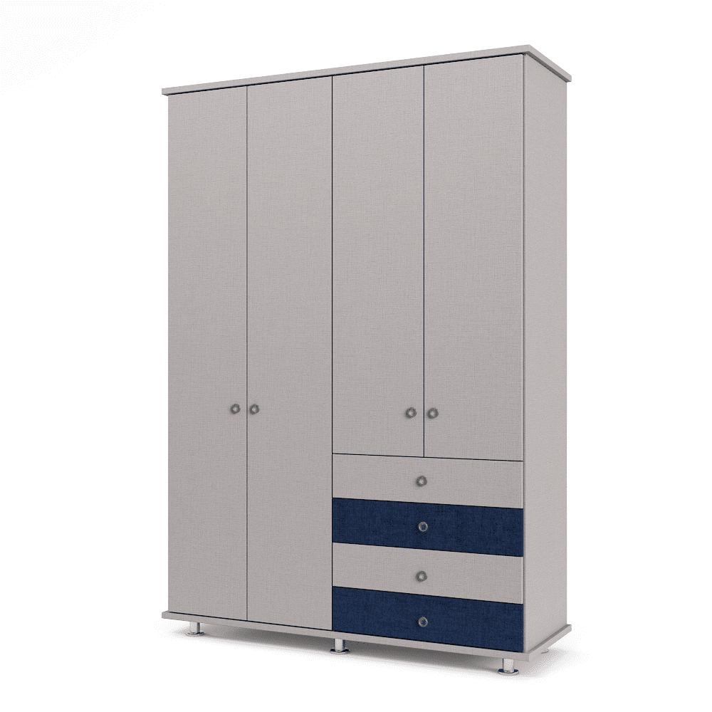 ארון 4 דלתות עם 6 חללי אחסון נפרדים + תא תלייה לקולבים ו- 4 מגירות – דגם יהונתן