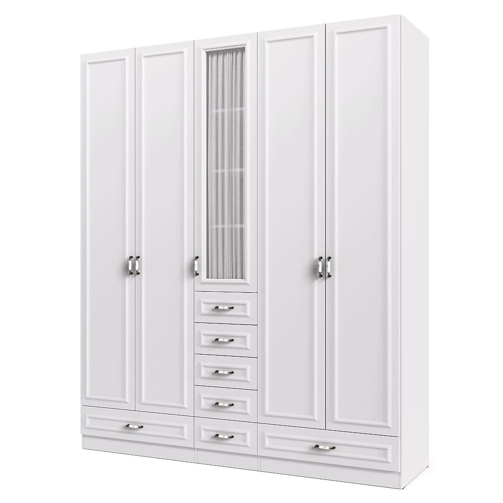 ארון 5 דלתות עם 18 חללי אחסון נפרדים + תא תלייה לקולבים ו- 7 מגירות – דגם לורן