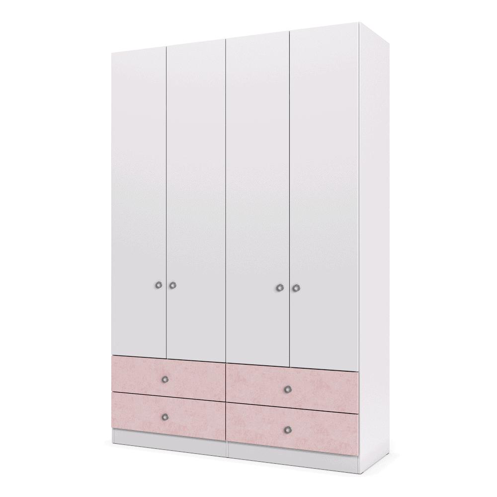 ארון 4 דלתות עם 6 חללי אחסון נפרדים + תא תלייה לקולבים ו- 4 מגירות – דגם ירדן
