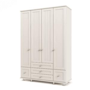 ארון 4 דלתות עם 10 חללי אחסון נפרדים + תא תלייה לקולבים ו- 5 מגירות – דגם דרור
