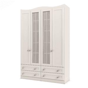 ארון 4 דלתות עם 6 חללי אחסון נפרדים + תא תלייה לקולבים ו- 4 מגירות – דגם לין