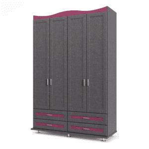 ארון 4 דלתות עם 6 חללי אחסון נפרדים + תא תלייה לקולבים ו- 4 מגירות – דגם שובל