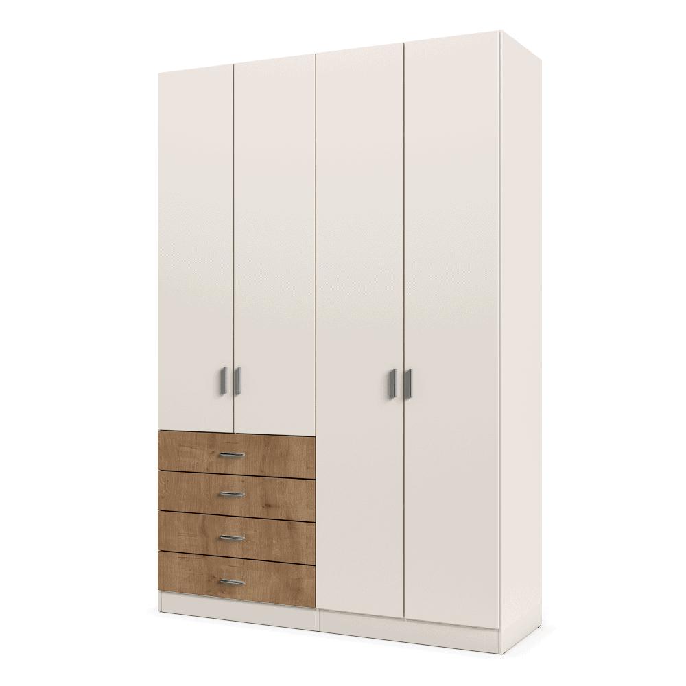 ארון 4 דלתות עם 6 חללי אחסון נפרדים ו- 4 מגירות + תא תלייה לקולבים – דגם ניתאי