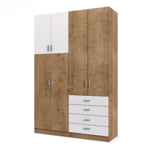 ארון 4 דלתות עם 6 חללי אחסון נפרדים ו- 4 מגירות + תא תלייה לקולבים – דגם ארי