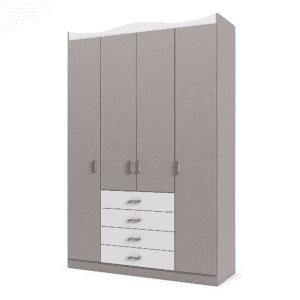ארון 4 דלתות עם 12 חללי אחסון נפרדים + תא תלייה לקולבים ו- 4 מגירות – דגם שניאל