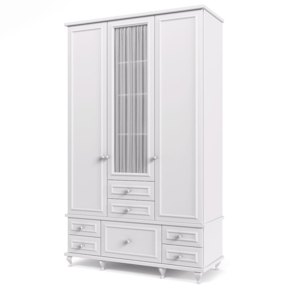 ארון 3 דלתות עם 11 חללי אחסון נפרדים ו- 6 מגירות + תא תלייה לקולבים – דגם לני