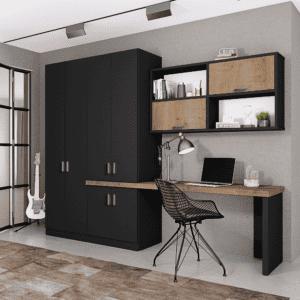 ארון משולב ספרייה הכולל 8 חללי אחסון + תא לתליית קולבים, משטח עבודה מפנק, וכוורת עם 2 קוביות תצוגה + 2 תאי אחסון – דגם לביא