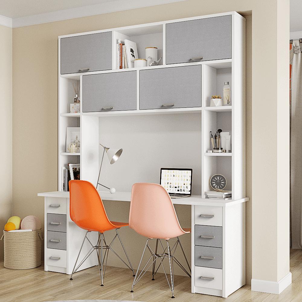 ספרייה לחדרי ילדים ונוער או למשרד הכוללת שולחן עבודה, כוורת מובנית עם 7 מדפים, 8 מגירות ו- 4 תאי אחסון גדולים – דגם נועם