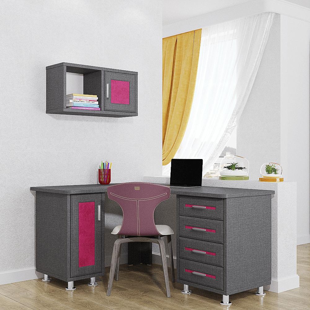 ספרייה לחדרי ילדים ונוער או למשרד הכוללת שולחן עבודה עם 4 מגירות + ארון אחסון, וכוורת לתלייה עם תא אחסון סגור + מדף תצוגה – דגם שובל