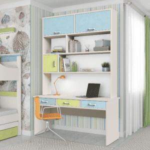ספרייה לחדרי ילדים ונוער או למשרד הכוללת שולחן עבודה עם 3 מגירות צמודות + כוורת עם 3 מדפים ו- 3 תאי אחסון סגורים – דגם דר