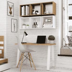 ספרייה לחדרי ילדים ונוער או למשרד הכוללת שולחן עבודה, וכוורת לתלייה + 6 תאי אחסון ותצוגה – דגם ארי