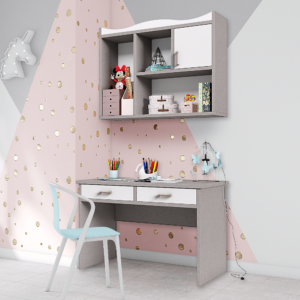 ספרייה לחדרי ילדים ונוער או למשרד הכוללת שולחן עבודה עם 2 מגירות, וכוורת לתלייה עם 4 חללי אחסון ותצוגה – דגם שניאל