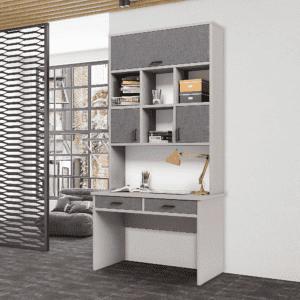 ספרייה לחדרי ילדים ונוער או למשרד הכוללת שולחן עבודה עם 2 מגירות צמודות, וכוורת עם 4 קוביות תצוגה ו- 3 תאי אחסון נסגרים – דגם מוראל