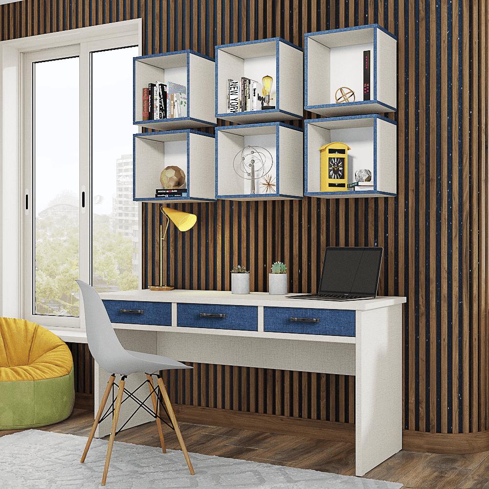 ספרייה לחדרי ילדים ונוער או למשרד הכוללת שולחן עבודה עם 3 מגירות צמודות, וכוורת לתלייה המכילה 6 קוביות אחסון ותצוגה – דגם דוראל