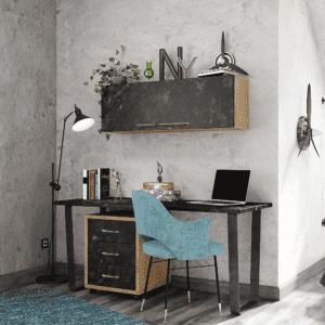 ספרייה לחדרי ילדים ונוער או למשרד הכוללת שולחן עבודה, כוננית ניידת עם 3 מגירות וכוורת אחסון לתלייה – דגם ניל