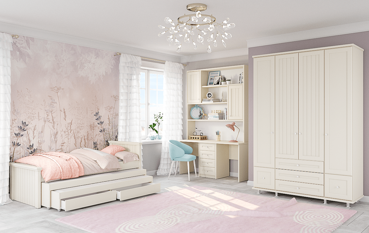 חדר ילדים שלם הכולל ארון, ספריה ומיטה, במידות וצבעים לבחירתכם – דגם דרור