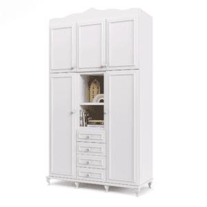 ארון 4 דלתות עם 10 חללי אחסון נפרדים, 4 מגירות, תא תלייה לקולבים ו- 2 מדפי תצוגה חיצוניים - דגם רומי