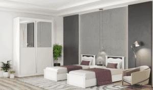 חדר שינה קומפלט הכולל תא תליית קולבים, מיטה יהודית, ושידת לילה + 2 מגירות ואפשרות לארון הזזה עם 8 חללי אחסון – דגם אשכולית הפרדה
