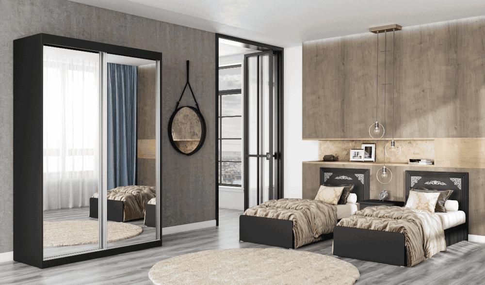 חדר שינה קומפלט הכולל מיטה יהודית, ושידת לילה + 2 מגירות ואפשרות לארון הזזה עם 9 חללי אחסון– דגם פטל הפרדה