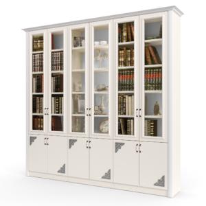 ספריית קודש עם 6 דלתות זכוכית מהודרות, ו- 6 דלתות תחתונות מעוטרות – דגם אדס
