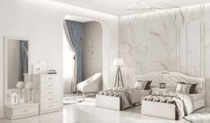 חדר שינה קומפלט הכולל מיטה יהודית, שידת לילה עם 2 מגירות, כוננית 5 מגירות, ומיני-כוננית עם מגירת אחסון + מראה – דגם אפרסק
