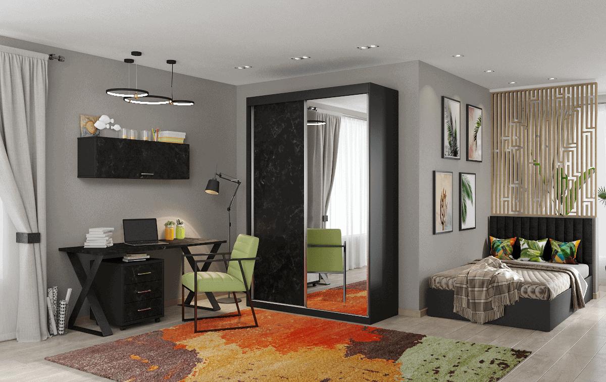 חדר ילדים שלם הכולל ארון, ספריה ומיטה, במידות וצבעים לבחירתכם – דגם עמית