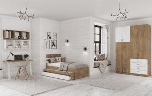 חדר ילדים שלם הכולל ארון, ספריה ומיטה, במידות וצבעים לבחירתכם – דגם ארי