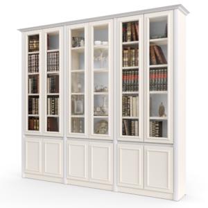 ספריית קודש עם 6 דלתות זכוכית + תאי אחסון ותצוגה, ו- 6 דלתות אחסון תחתונות – דגם אתרוג