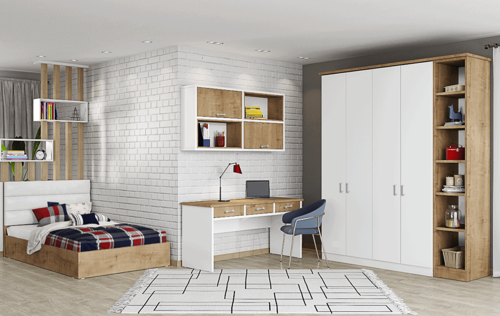 חדר ילדים שלם הכולל ארון, ספריה ומיטה, במידות וצבעים לבחירתכם – דגם בן