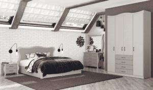 חדר שינה קומפלט הכולל מיטה זוגית עם 2 שידות לילה + 2 מגירות, וכוננית התארגנות + 4 מגירות ומראה  ואפשרות לארון עם 12 חללי אחסון + תא תליית קולבים ו- 4 מגירות– דגם בנימין