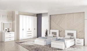 חדר שינה קומפלט הכולל מיטה יהודית עם 2 שידות לילה + 2 מגירות, וכוננית 4 מגירות + מראה ואפשרות לארון עם 12 חללי אחסון + 6 מגירות ותא תליית קולבים– דגם דן