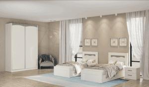 חדר שינה קומפלט הכולל מיטה יהודית, ושידת לילה + 2 מגירות ואפשרות ארון הזזה עם 8 חללי אחסון + תא תליית קולבים – דגם דוד