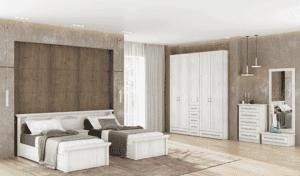 חדר שינה קומפלט הכולל מיטה יהודית עם שידת לילה + 2 מגירות, כוננית 5 מגירות ומיני-כוננית + מגירה ומראה ואפשרות לארון עם 12 חללי אחסון + 6 מגירות ותא תליית קולבים – דגם דינה