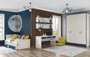 חדר ילדים שלם הכולל ארון, ספריה ומיטה, במידות וצבעים לבחירתכם – דגם דוראל