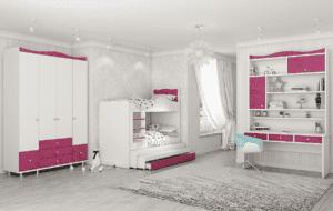 חדר ילדים שלם הכולל ארון, ספריה ומיטה, במידות וצבעים לבחירתכם – דגם עדן