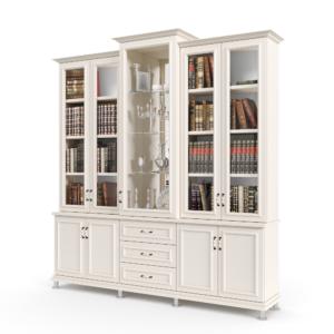 ספריית קודש עם 4 דלתות זכוכית + תא תצוגה מרכזי, 4 דלתות אחסון תחתונות ו- 3 מגירות – דגם אשכולית