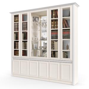 ספריית קודש עם 4 דלתות זכוכית + תא תצוגה מרכזי גדול, ו- 6 דלתות אחסון תחתונות – דגם אירית