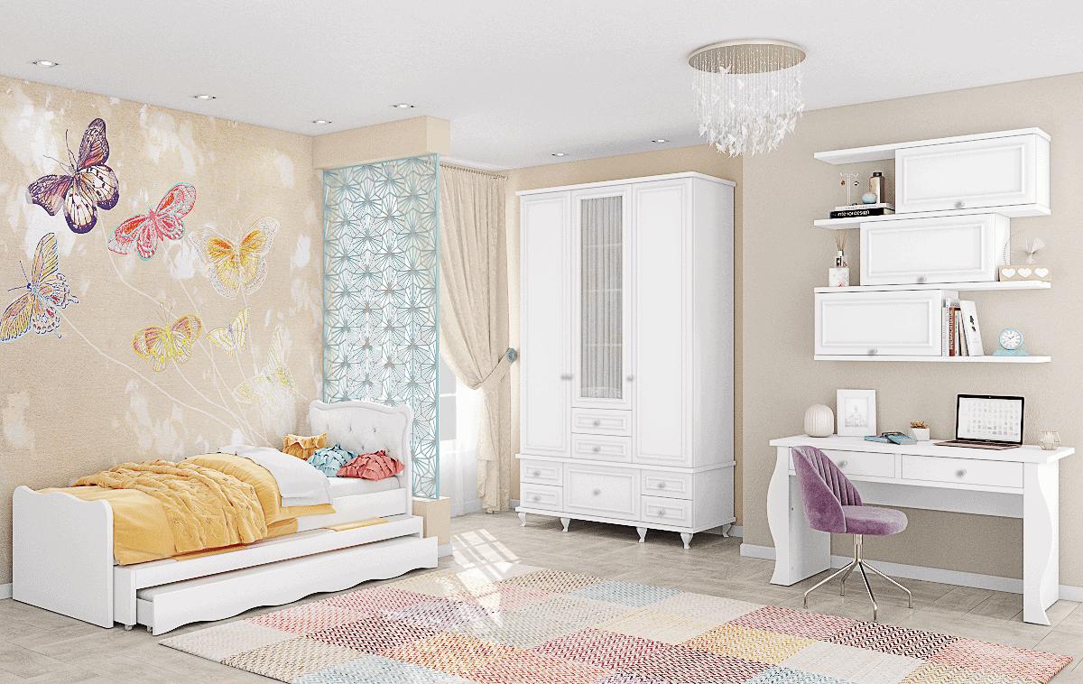 חדר ילדים שלם הכולל ארון, ספריה ומיטה, במידות וצבעים לבחירתכם – דגם לני