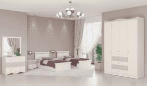 חדר שינה קומפלט הכולל מיטה יהודית עם 2 שידות לילה + 2 מגירות, וכוננית 6 מגירות + מראה ואפשרות לארון עם 12 חללי אחסון + 4 מגירות ותא תליית קולבים– דגם לוי
