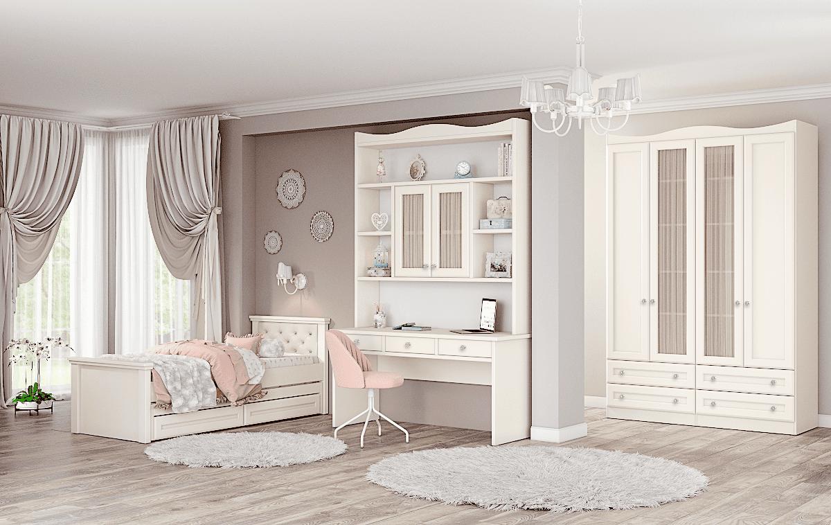 חדר ילדים שלם הכולל ארון, ספריה ומיטה, במידות וצבעים לבחירתכם – דגם לין