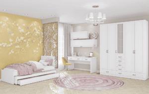 חדר ילדים שלם הכולל ארון, ספריה ומיטה, במידות וצבעים לבחירתכם – דגם לורן