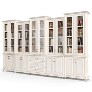 ספריית קודש עם 10 דלתות זכוכית, 8 דלתות אחסון תחתונות ו- 3 מגירות – דגם לולב