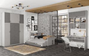 חדר ילדים שלם הכולל ארון, ספריה ומיטה, במידות וצבעים לבחירתכם – דגם מוראל