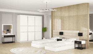 חדר שינה קומפלט הכולל מיטה יהודית + 2 שידות לילה, ושולחן עם מגירת אחסון + מראה ואפשרות לארון הזזה עם 14 חללי אחסון + תא לקולבים– דגם מיכאל הפרדה