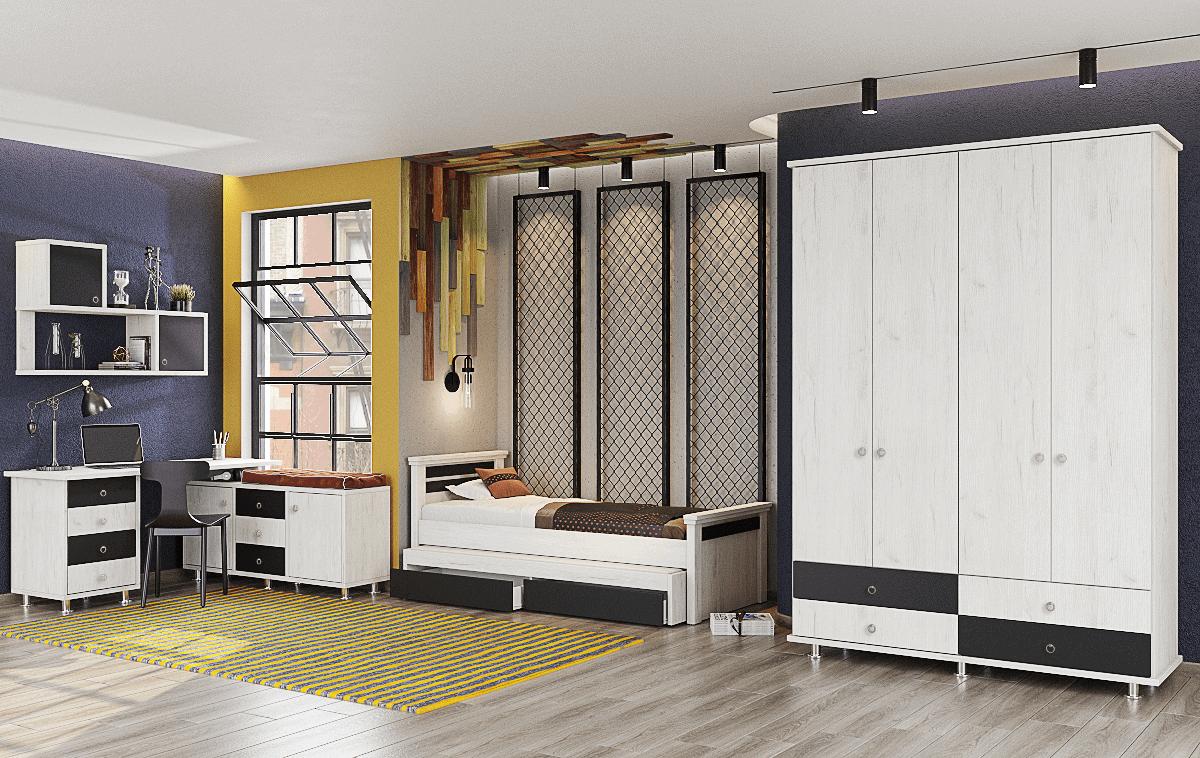 חדר ילדים שלם הכולל ארון, ספריה ומיטה, במידות וצבעים לבחירתכם – דגם ניסן