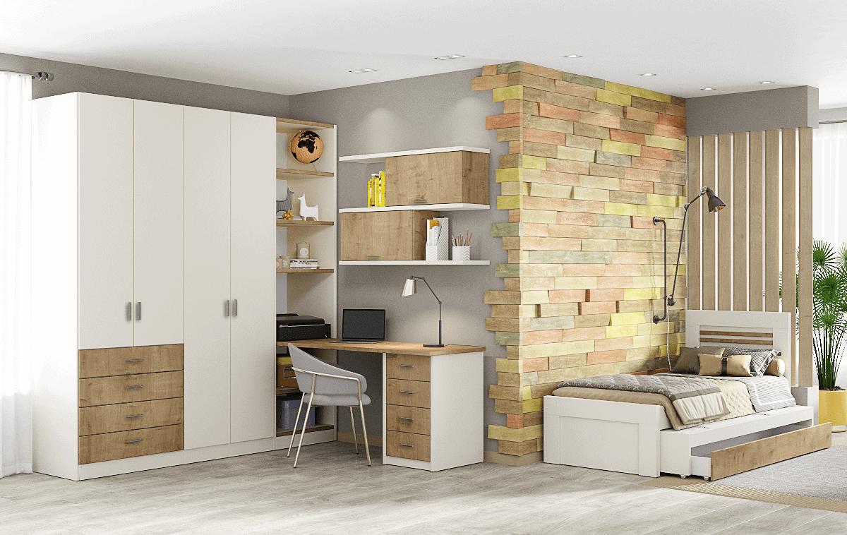 חדר ילדים שלם הכולל ארון, ספריה ומיטה, במידות וצבעים לבחירתכם – דגם ניתאי