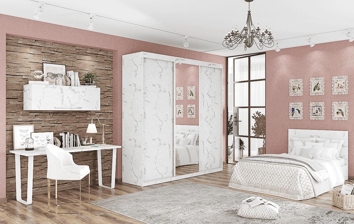 חדר ילדים שלם הכולל ארון, ספריה ומיטה, במידות וצבעים לבחירתכם – דגם נועה